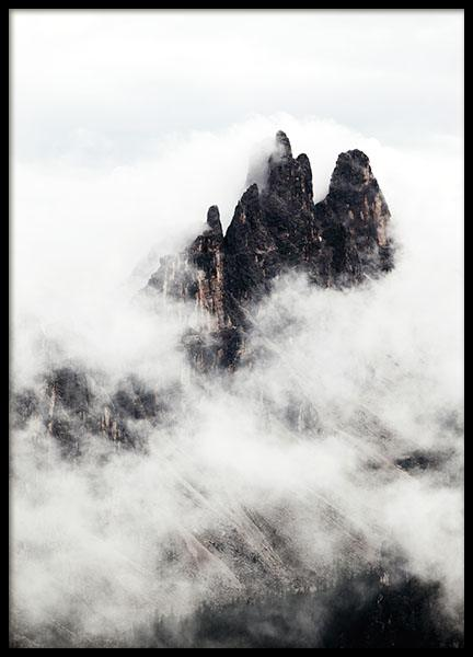 Print with nature picture in black and white of mountains and fog. Nordic decor.