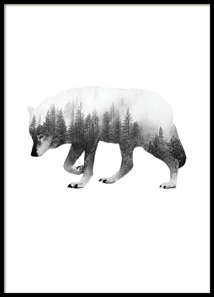 Black and white prints online, prints with photo art of wolf