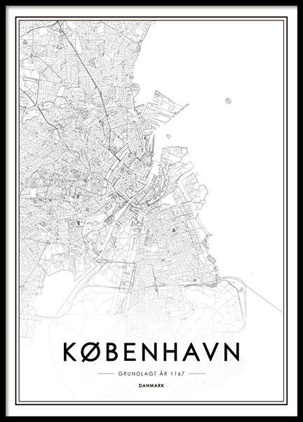 Poster with black and white map pf Copenhagen for interior design