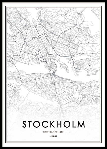 Posters and maps of Stockholm in black and white, print of map