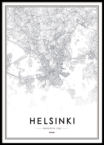 Helsinki Map, Poster in the group Prints / Maps & cities at Desenio AB (8180)