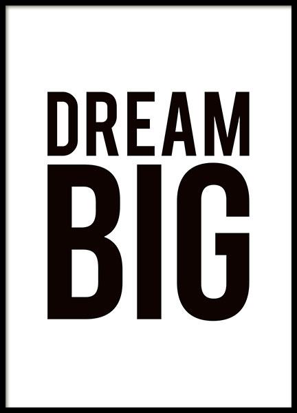 black and white typography poster print dream big nice. Black Bedroom Furniture Sets. Home Design Ideas