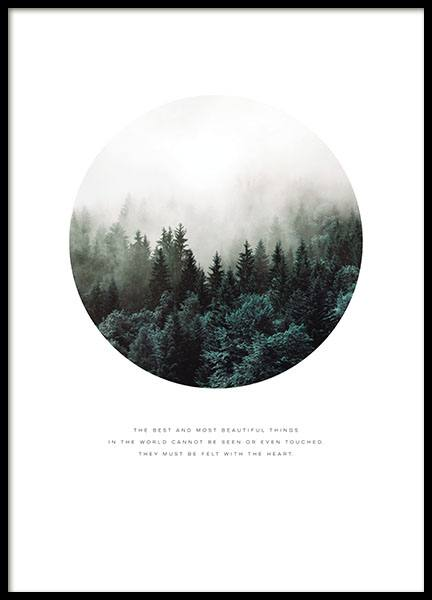 Poster with photo art of a forest and nature, print for Nordic decor