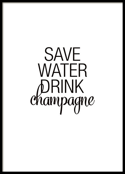 Kitchen art prints with text and quotes about champagne