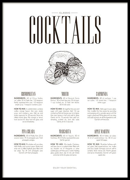 Black and white posters and prints for the kitchen, print with drinks