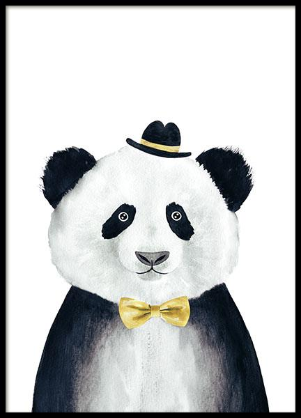 Cute children's posters of animal panda