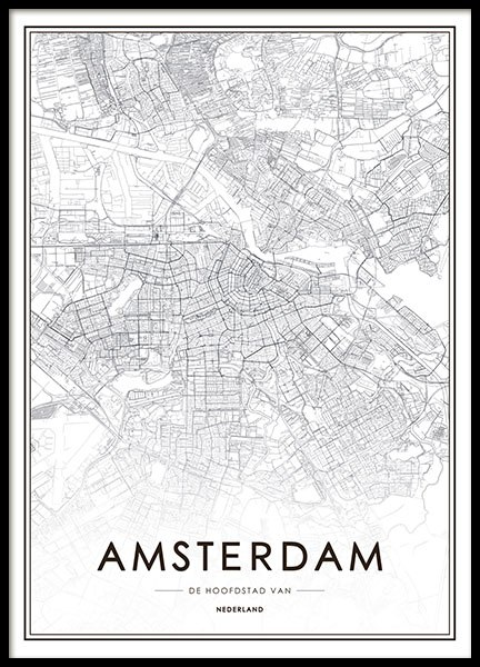 Poster and prints with Amsterdam black and white maps of cities