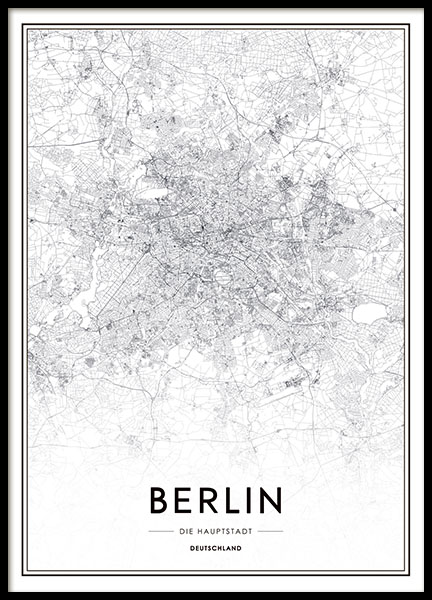 Print with Berlin map, prints with black and white maps