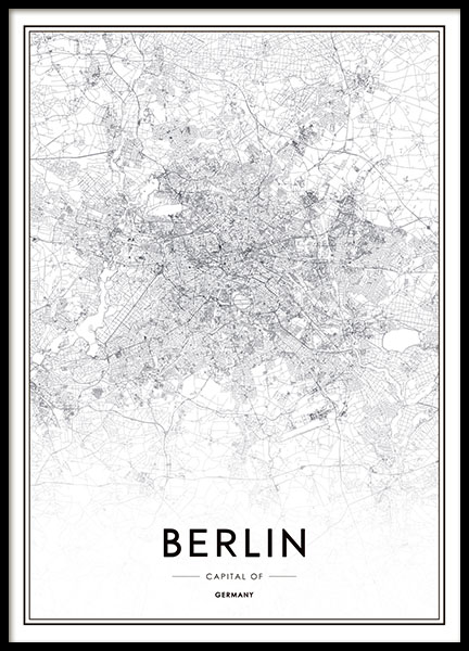 black and white poster with a map of berlin prints with. Black Bedroom Furniture Sets. Home Design Ideas