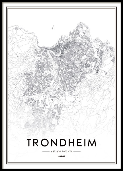 Trondheim, Poster in the group Prints / Maps & cities at Desenio AB (8281)