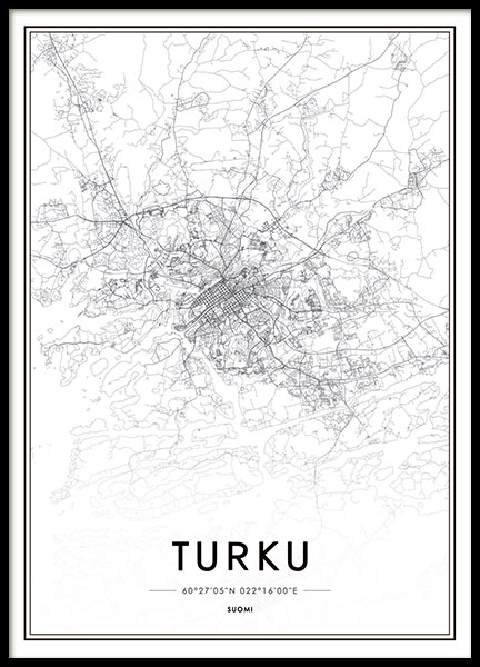 Turku, Poster in the group Prints / Maps & cities at Desenio AB (8282)