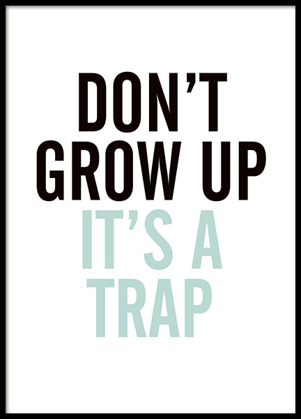 Grow Up, Blue, Poster in the group Prints / Kids posters at Desenio AB (8292)