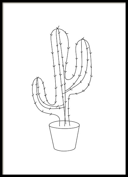 Print of a drawn cactus with minimalistic style.