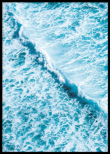 Poster with photo of blue ocean, nature photo for interior design