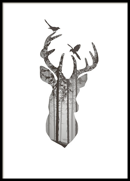 Graphic Deer Silhouette, Poster in the group Prints / Animals at Desenio AB (8350)