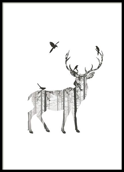deer silhouette poster. Black Bedroom Furniture Sets. Home Design Ideas