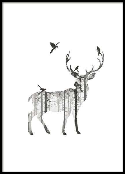 Deer Silhouette, Poster in the group Prints / Black & white at Desenio AB (8353)