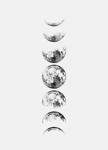 Moon Phase Grey, Poster in the group Prints / Sizes /  at Desenio AB (8371)