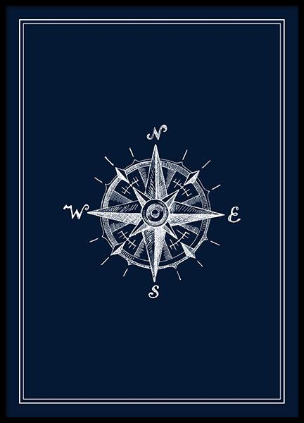 Compass Navy, Poster in the group Prints / Illustrations at Desenio AB (8428)
