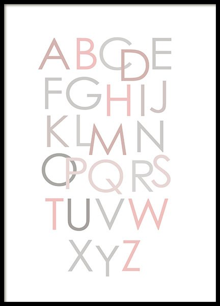 Alphabet Pink Eng, Poster in the group Prints / Kids posters at Desenio AB (8436)