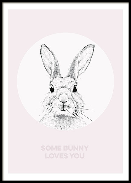 Bunny Love Pink, poster in the group Prints / Sizes /  at Desenio AB (8440)