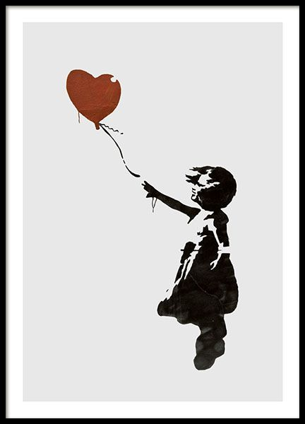Girl With Love Balloon Grey, Poster in the group Prints / Sizes / 50x70cm | 20x28 at Desenio AB (8446)