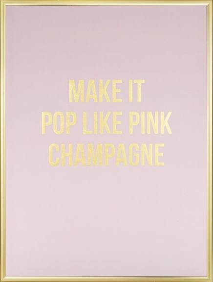 Poster with text in gold and pink
