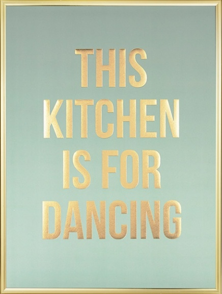 Stylish kitchen poster printed in golden foil