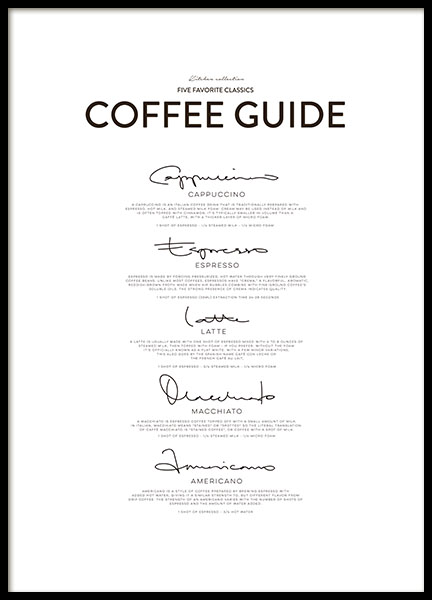 Five Coffee Classics, Posters in the group Prints / Kitchen at Desenio AB (8556)