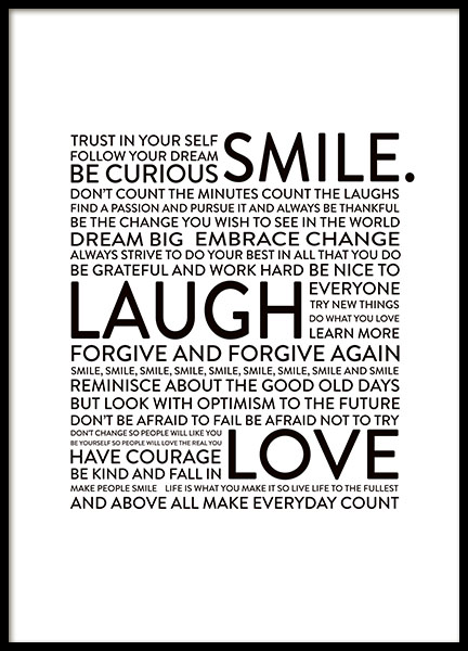 Smile Laugh Love, Posters in the group Prints / Typography & quotes at Desenio AB (8565)