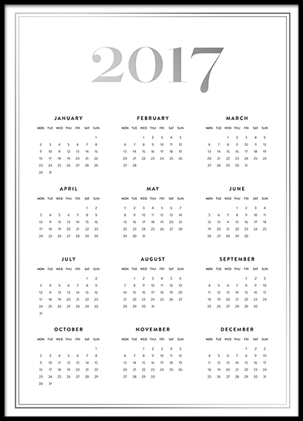 Silver calendar 17 print in the group Prints / Sizes / 50x70cm | 20x28