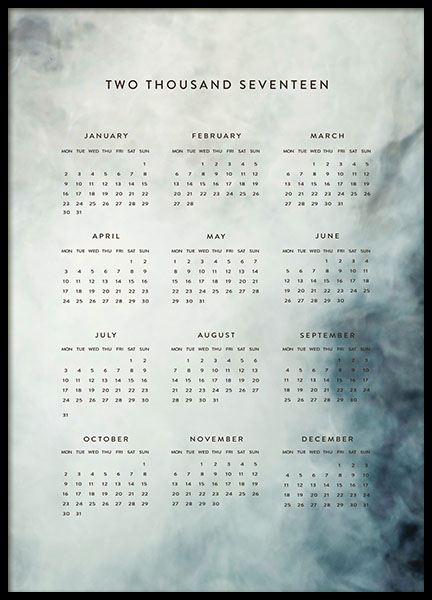 Calendar blue poster in the group Prints / Sizes / 50x70cm | 20x28