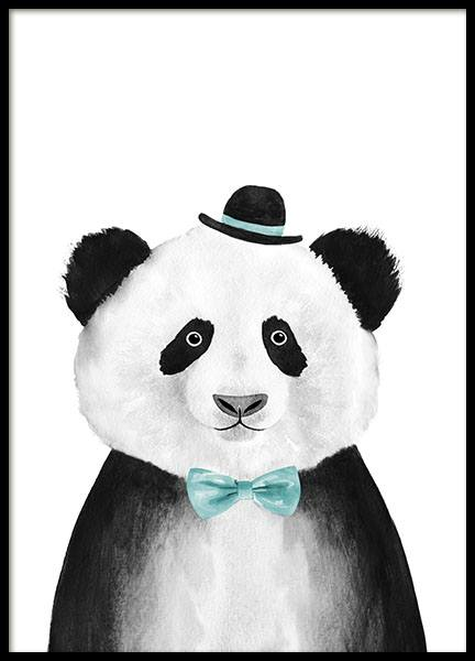 Panda With Blue Hat Print in the group Prints / Kids at Desenio AB (8709)