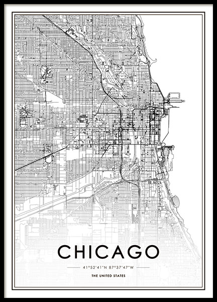 Chicago Map Poster in the group Prints / Maps & cities at Desenio AB (8717)