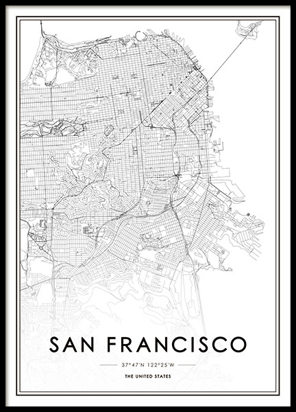 San Francisco Map Poster in the group Prints / Maps & cities at Desenio AB (8724)