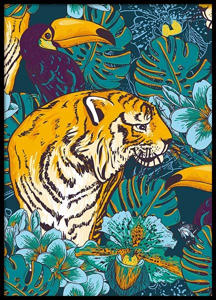 Tiger In Paradise Poster in the group Prints / Sizes / 50x70cm | 20x28 at Desenio AB (8778)