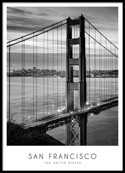 Golden Gate Bridge Poster in the group Prints / Black & white at Desenio AB (8920)