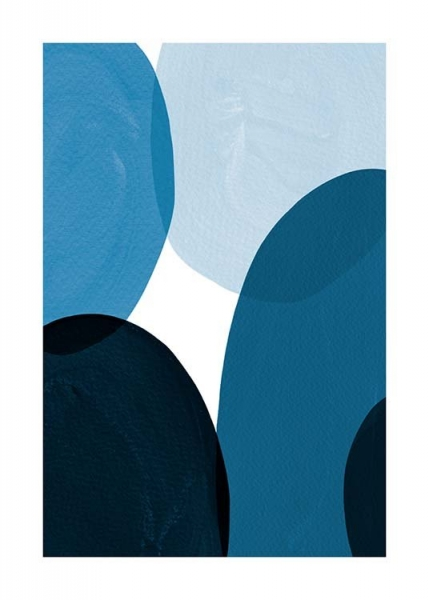 Blue Shapes Poster in the group Prints / Sizes / 50x70cm | 20x28 at Desenio AB (8997)
