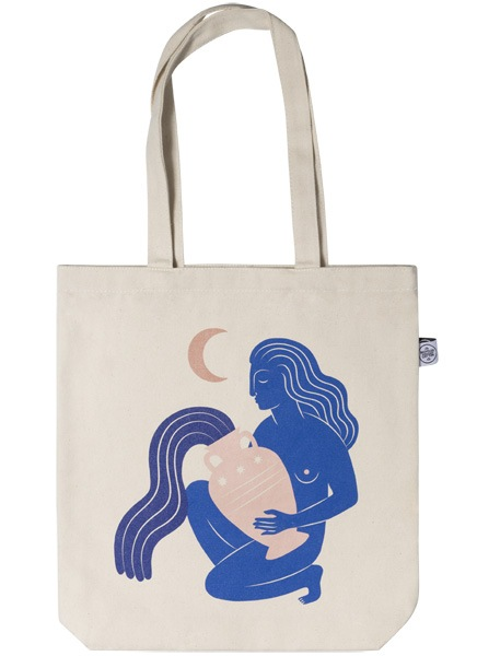 – Beige tote bag with a woman holding a vase, painted in blue with a half moon above her printed on the front