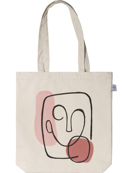 – Beige tote bag with an abstract illustration with a face and two shapes printed on the front