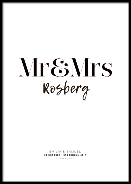 Mr and Mrs Personal Poster in the group Prints / Personalised prints at Desenio AB (pp0011)