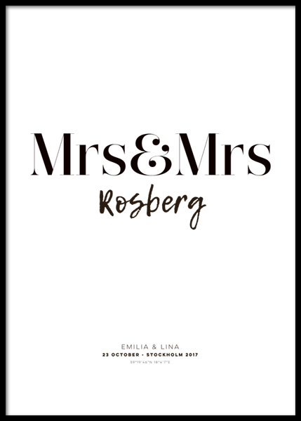 Mrs and Mrs Personal Poster in the group Prints / Personalised prints at Desenio AB (pp0012)
