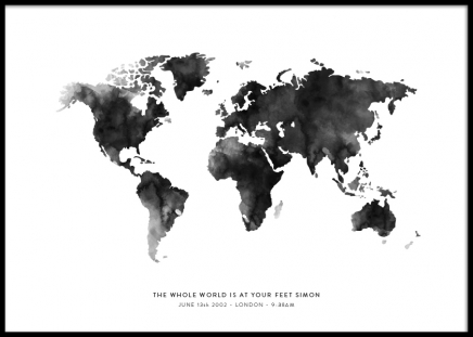 World Map Grey Personal Poster in the group Prints / Personalised prints at Desenio AB (pp0016)