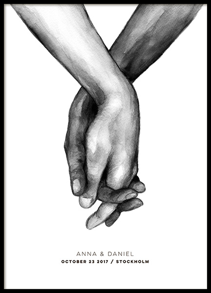 Watercolor Hands Personal Poster in the group Prints / Personalised prints at Desenio AB (pp0043)
