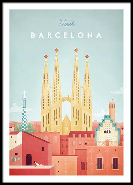 Barcelona Travel Poster in the group Prints / Retro & vintage at Desenio AB (pre0006)
