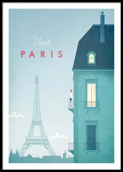 Paris Travel Poster in the group Prints at Desenio AB (pre0013)