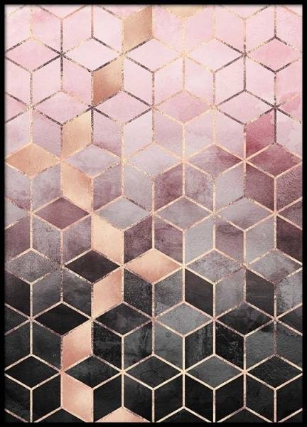 Pink Grey Gradient Cubes Poster in the group Prints / Graphical at Desenio AB (pre0016)