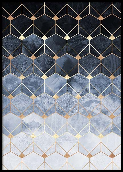 Blue Hexagons And Diamonds Poster in the group Prints / Graphical at Desenio AB (pre0018)