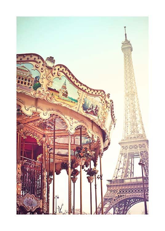 Eiffel Tower Carousel Poster / Photographs at Desenio AB (10098)