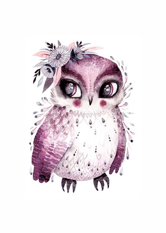 - Colourful animal poster with a small owl with flowers on its head.